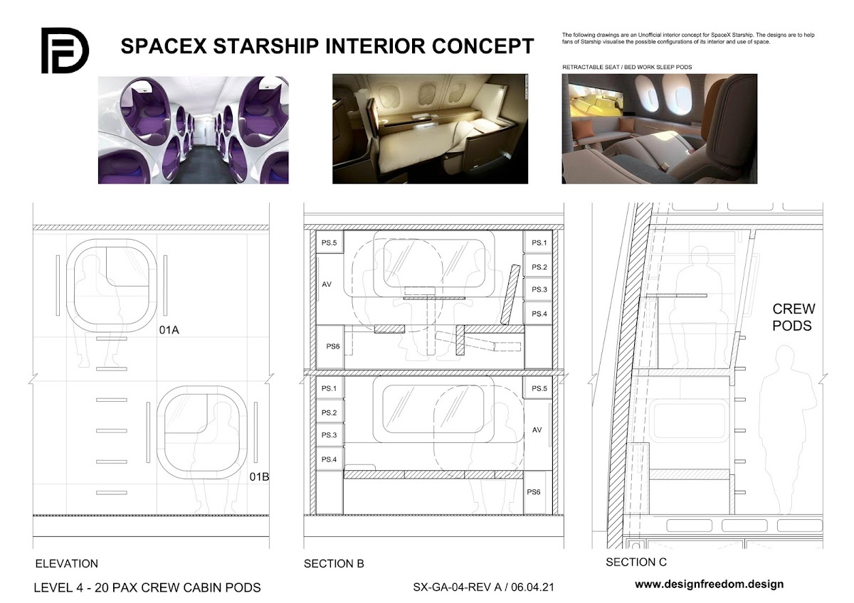 SpaceX Starship interior concept by Paul King - Crew cabin pods