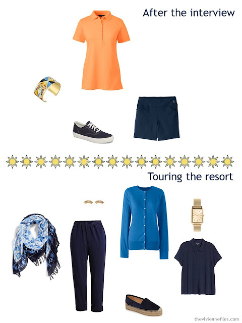 2 outfits from a Tote Bag Travel capsule wardrobe
