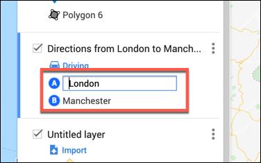 اكتب مواقع المغادرة والوصول في طبقة الاتجاهات المخصصة في محرر خرائط Google