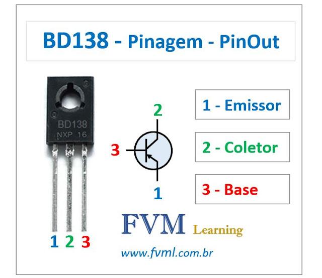 Pinagem - Pinout - Transistor - PNP - BD138 - Características