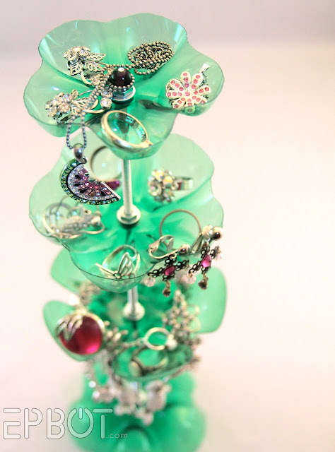 Recycled plastic liter bottle jewelry stand