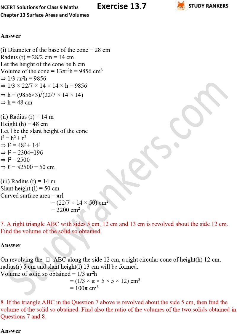 NCERT Solutions for Class 9 Maths Chapter 13 Surface Areas and Volumes Exercise 13.7 Part 3