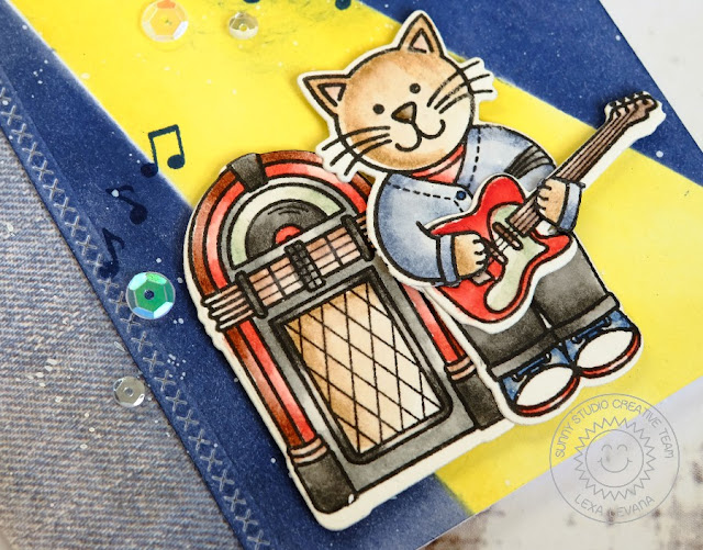 Sunny Studio Stamps: Sock Hop 1950's Cool Cat Jukebox & Guitar Card by Lexa Levana