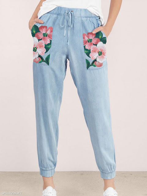 Fashionable fresh light blue cotton and linen printed casual pants