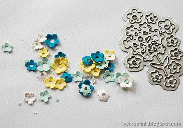Layers of ink - Summer Garden Miniature Globe Tutorial by Anna-Karin Evaldsson. Die cut tiny flowers.