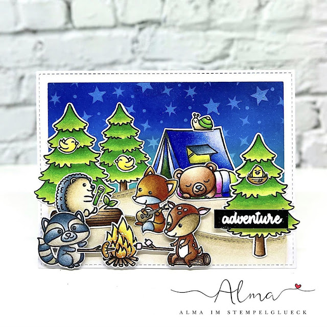 Sunny Studio Stamps: Critter Campout Customer Card by Alma