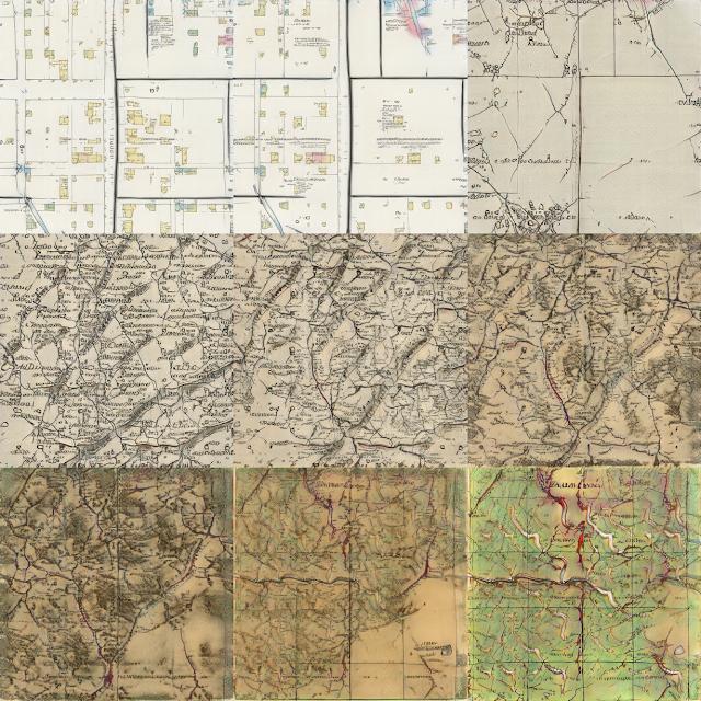 Девять шагов интерполяции между этим странным зеленоватым изображением и картой города в пастельных тонах делают несколько интересных шагов.