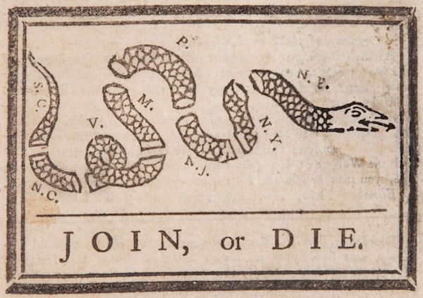 Benjamin Franklin cartoon Join or Die. 1754 Newspaper. A Republic if and Other stories of Past Leaders Responding to Now. Marchmatron.com