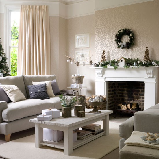 5 inspiring christmas shabby chic living room decorating for Grey shabby chic living room ideas