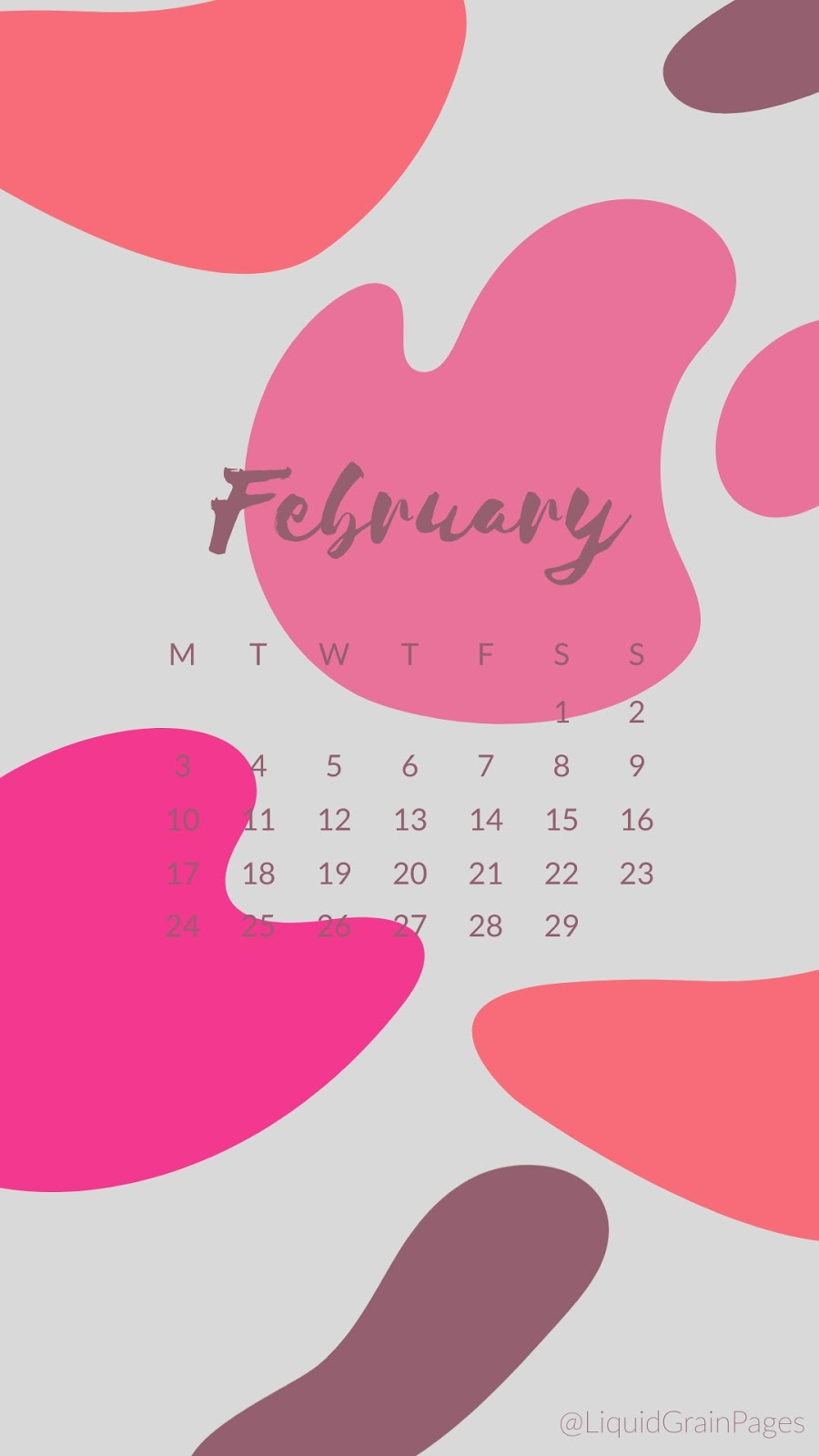 Free Phone Backgrounds - 2020 Calendar Liquid Grain Pages february