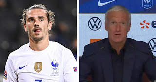 Deschamps warns Barcelona forward Griezmann of his spot on France national team if he continues struggling