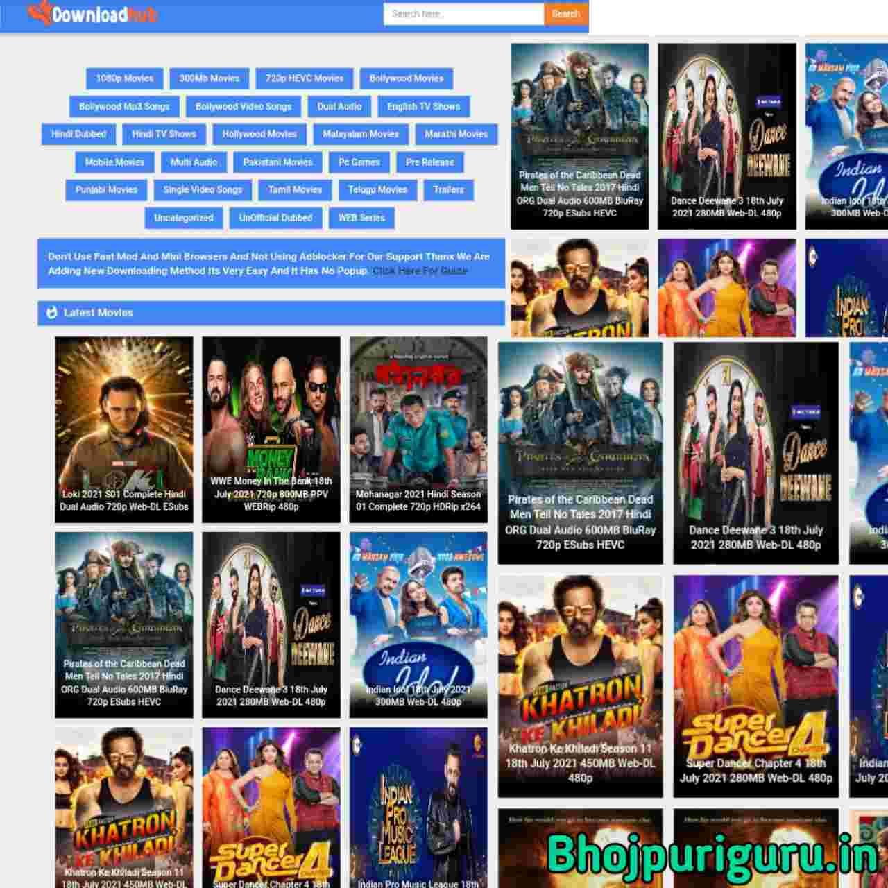 Downloadhub 2021: Download 500MB Dual Audio Bollywood & Hollywood Movie, Hindi Web Series - Bhojpuri Guru