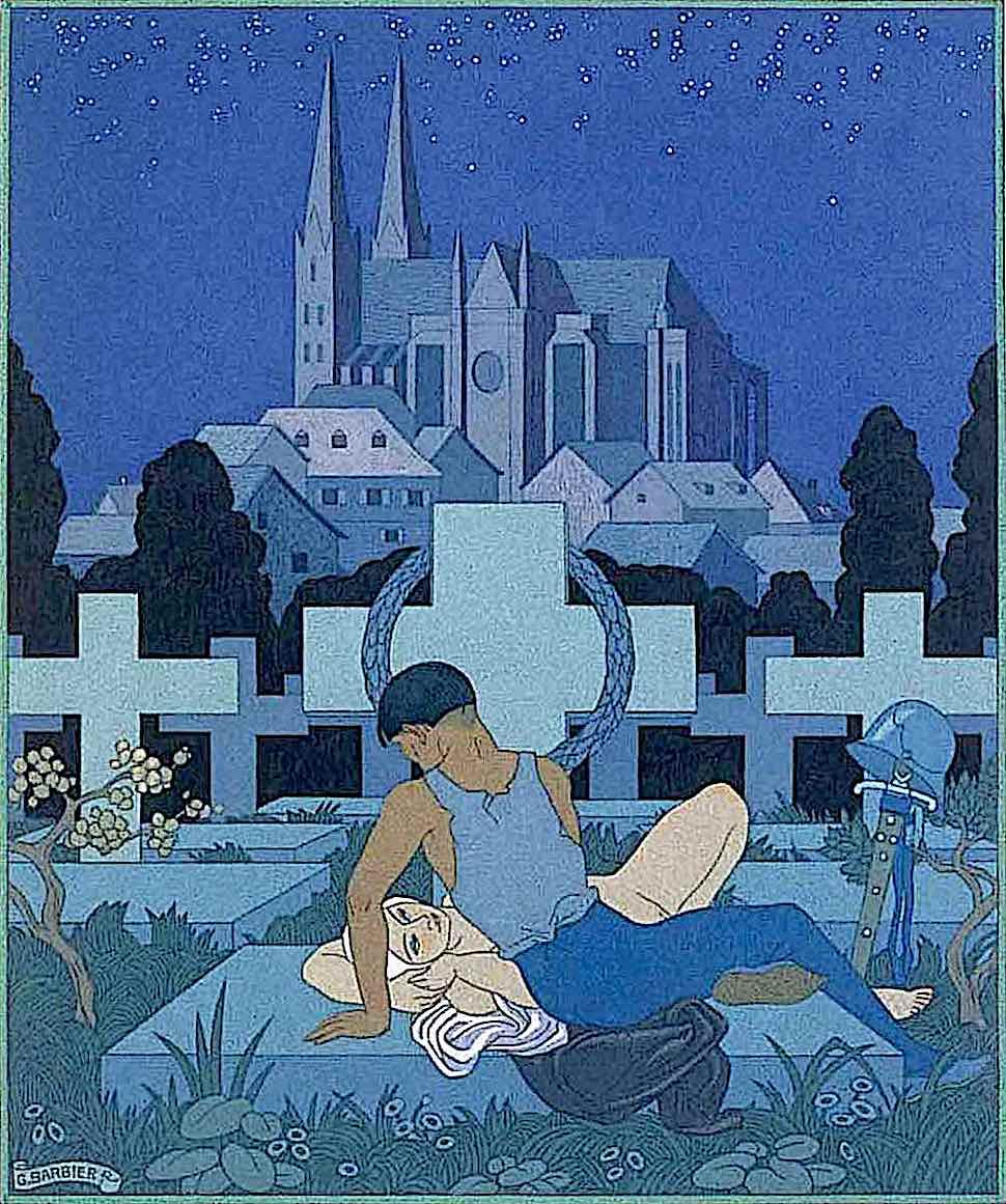 George Barbier, lovers in a graveyard