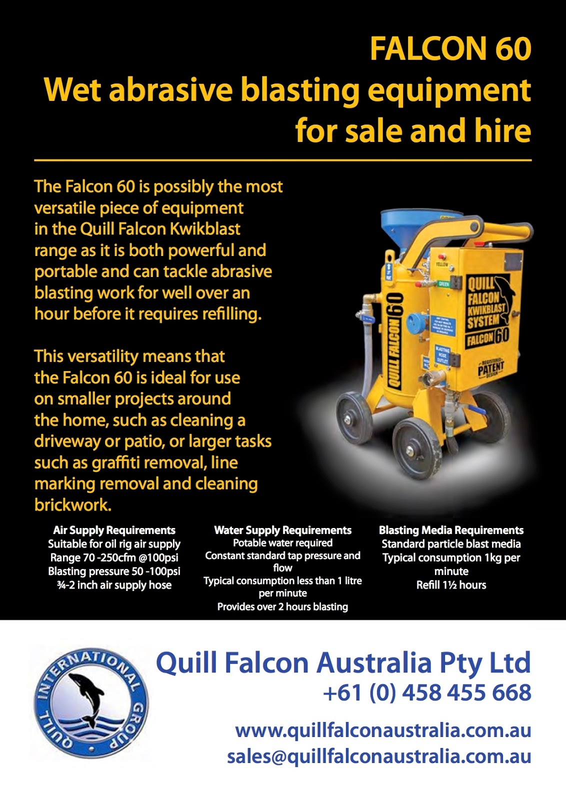 Falcon 60 | Wet abrasive blasting machine for sale and hire