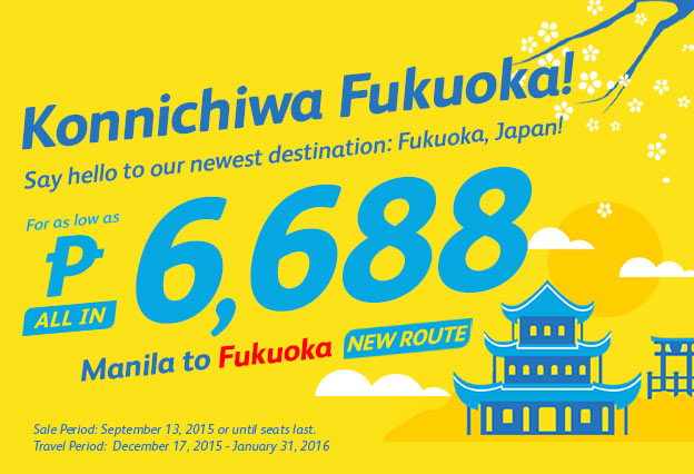 Manila to Fukuoka Cebu Pacific Promo Ticket 2016