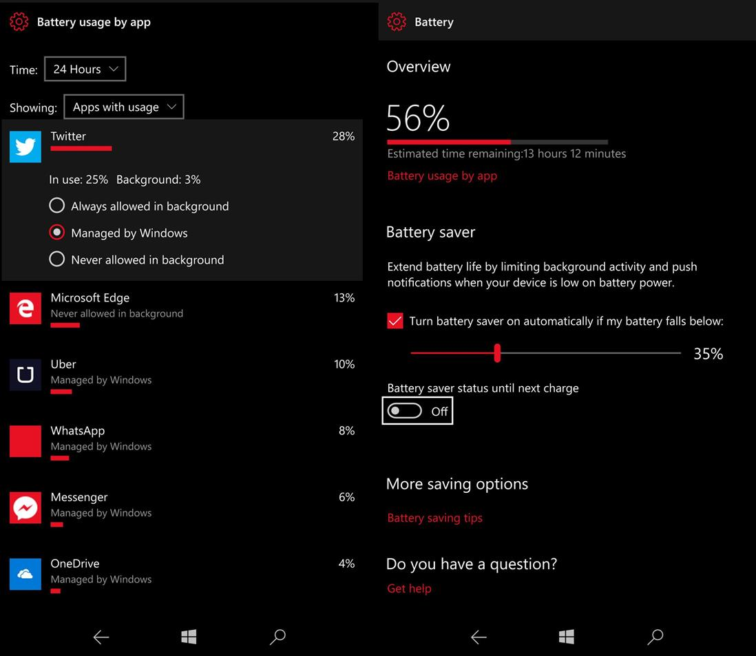 Miscellaneous tips For Battery Saving in Windows 10 Mobile