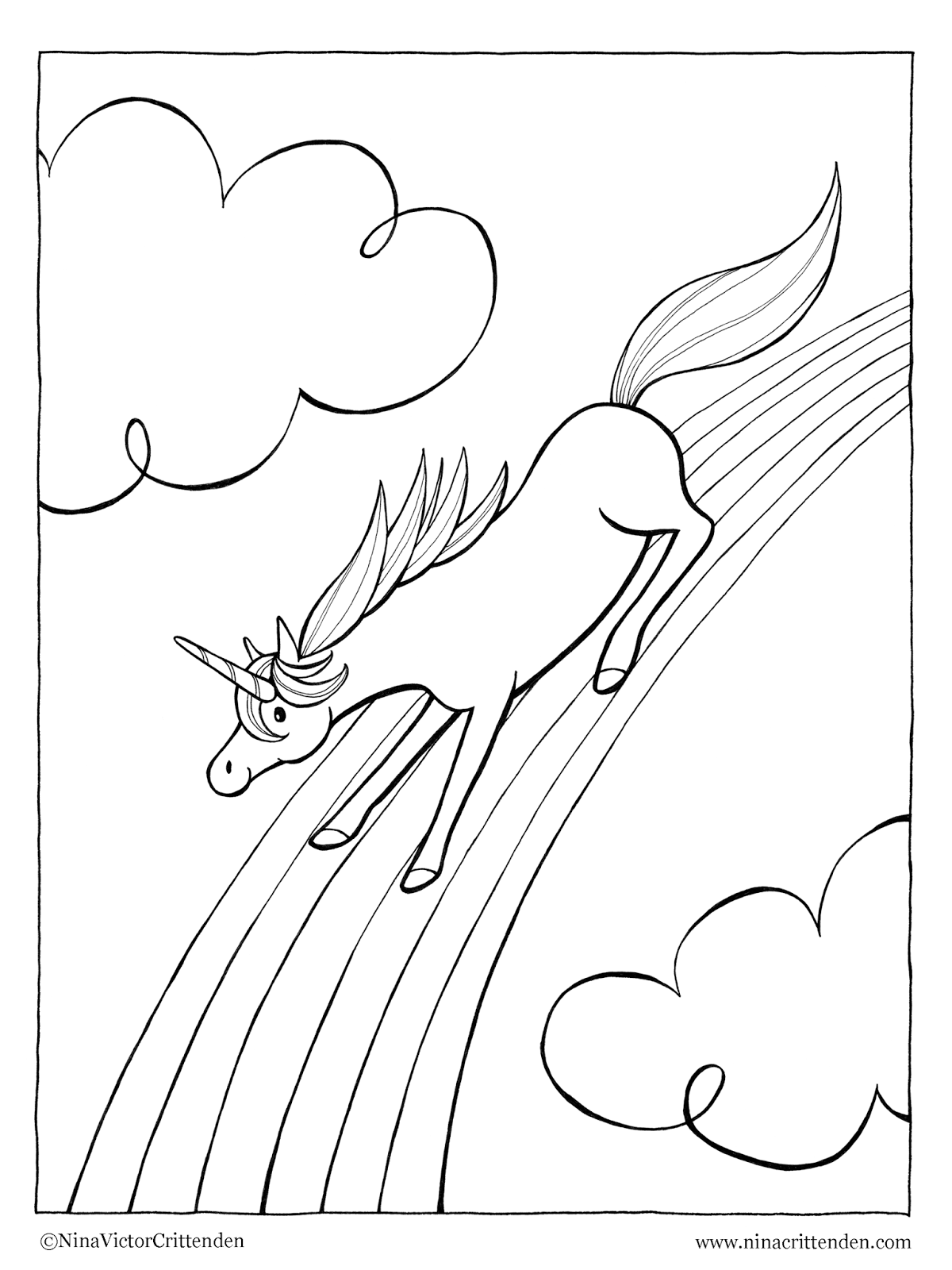 Nina victor crittenden 39 s blog for Rainbow unicorn coloring pages