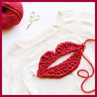 Mega apliques labios a crochet
