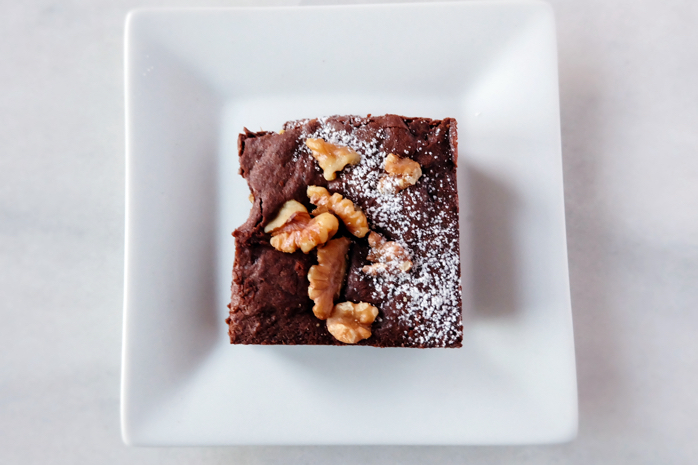 plated baked chewy brownie