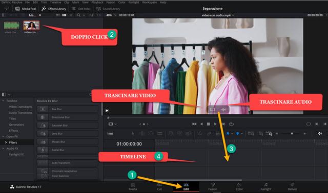 trascinare audio o video nella timeline