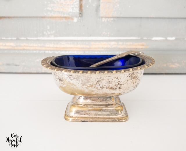 silver plated salt cellar cobalt blue glass insert spoon