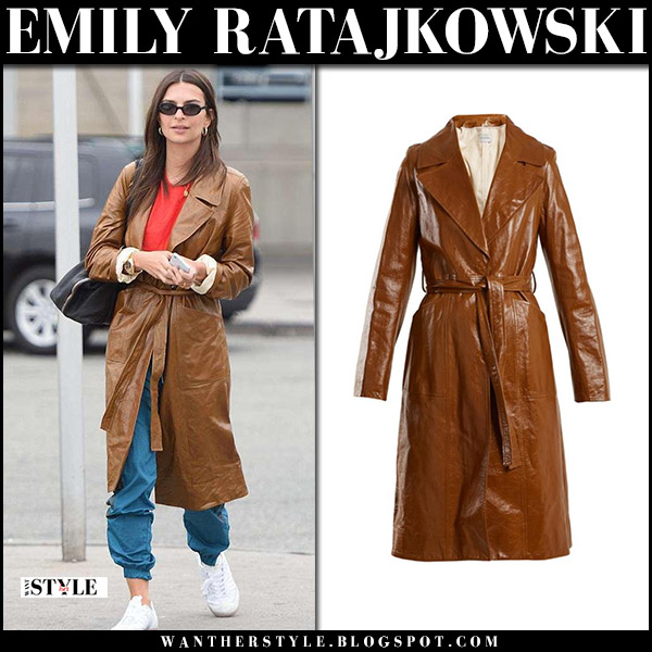 Emily Ratajkowski in brown leather trench coat yves salomon street fashion april 9