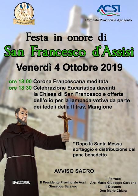 Festa di San Francesco d'Assisi - 4 Ottobre 2019