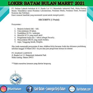 Lowongan Kerja PT. Daihan Labtech (Ditutup 10 Maret 2021)