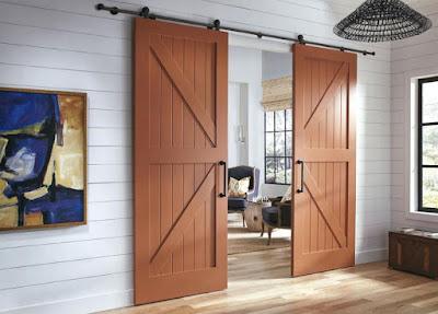 Double-side sliding barn door for farmhouse interior design
