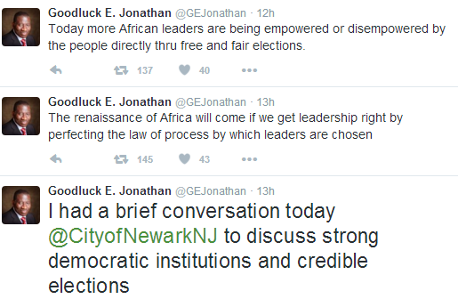 3 Photos: GEJ speaks on strong democratic institutions and credible elections at USA