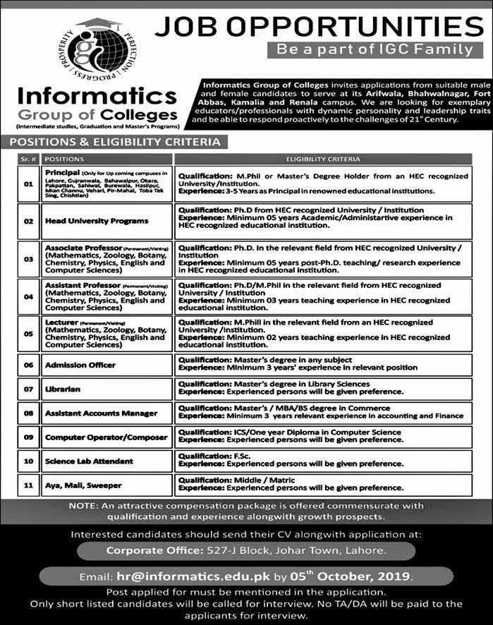 Jobs in Informatics Group of Colleges in Lahore