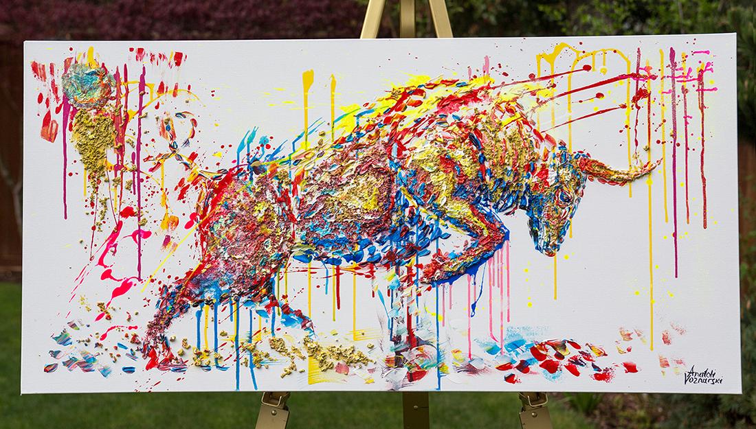 bull painting, bull acrylic, bull unique texture, thick layers bull, abstract bull, bull voznarski, mixed bull, bull on canvas, bull pop art, bull wall art, beautiful bull , red bull