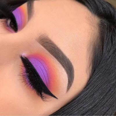 Maquillaje morado con naranja