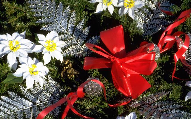 Kerst afbeelding met strikken, bloemen en bladeren