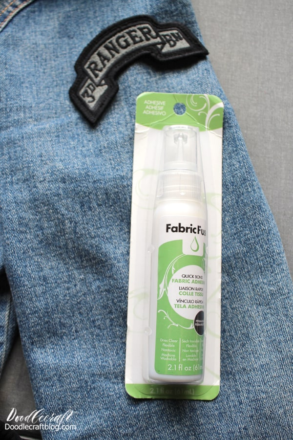 Step 4: Fabric Fuse for Non Iron-on Patches If you have patches that do not have the adhesive backing, Fabric Fuse to the rescue! This adhesive dries clear and flexible, so it is the perfect way to stick patches on a jacket.