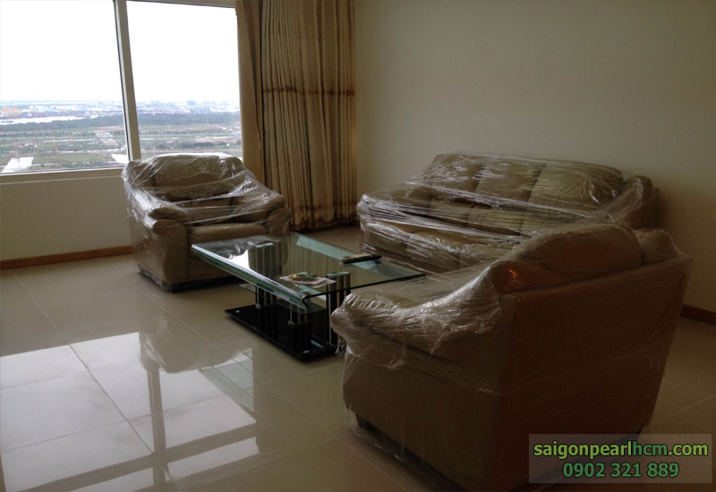 Sofa tại phòng khách mới 100% lầu 30 căn hộ Saigon Pearl