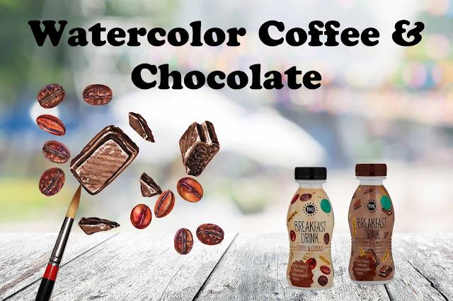 watercolor of chocolate and coffee beans on bottles artist Irina Sztukowski