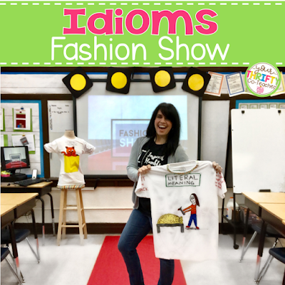 Classroom transformations are one of my favorite ways to engage students in their learning, and this idiom t-shirt fashion show classroom transformation was no exception. This classroom transformation was a unique way of having students display their published work while spectators were able to review their knowledge of idioms. Not only was this fashion show classroom transformation thrifty, but it is took less than 15 minutes to set up.