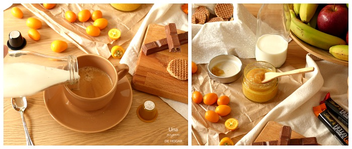 mermelada de kumquat desayuno completo con fruta, café, galletas