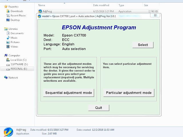 Resetter Epson Stylus CX7700