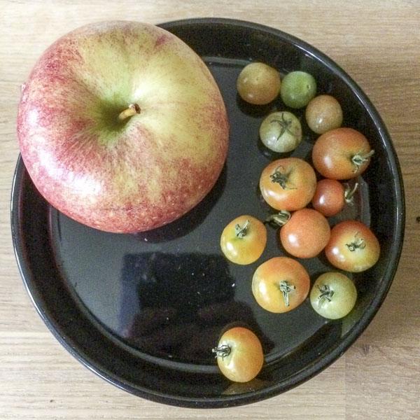 äpple, tomater