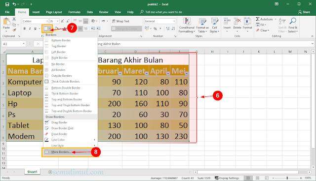 cara membuat tabel di excel di hp