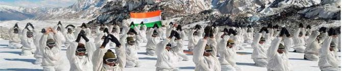 Army, ITBP Soldiers Practice Yoga In Freezing Temperature At High Altitude Formations