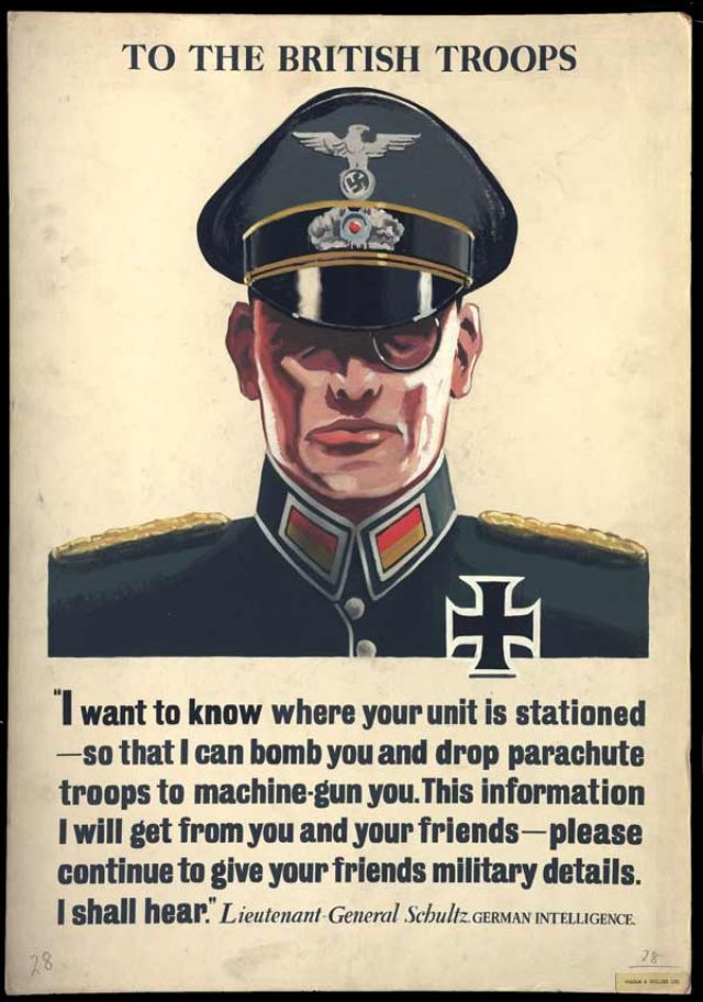 A Careless Talk Poster Illustrated By Uniformed German Intelligence Officer Colonel Shultz Depicted As Typical Masochistic Nazi