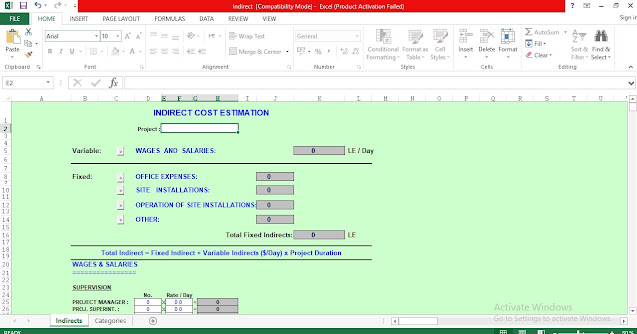 Indirect Cost Estimation Template