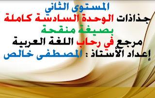 جذاذات الوحدة السادسة في رحاب اللغة العربية  المستوى الثاني المنهاج الجديد
