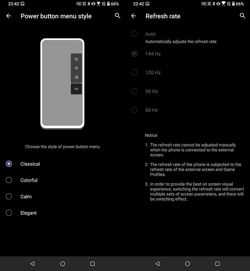 Refresh rate and power button customization