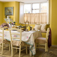 Yellow cottage dining room ideas with white dining table and beige dining chairs