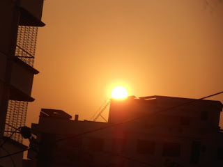 Sunset picture from building