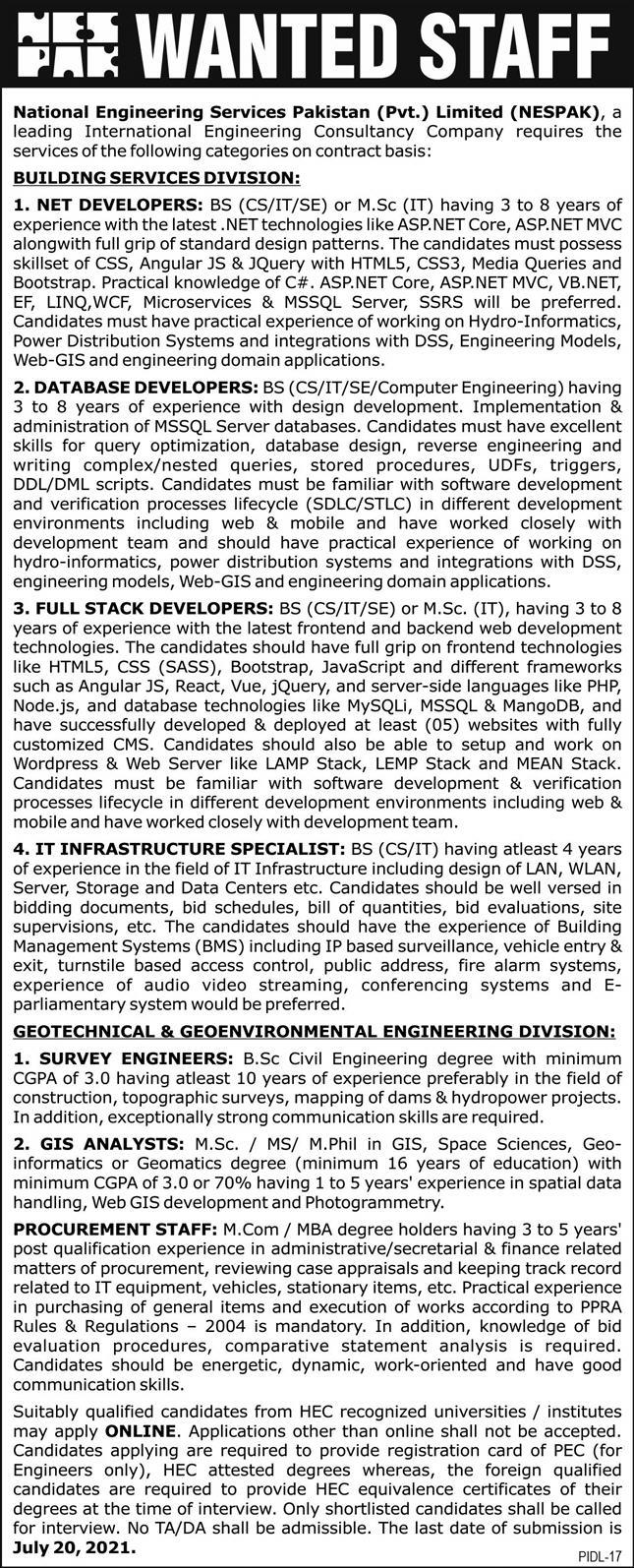 www.nespak.com.pk Jobs 2021 - National Engineering Services Pakistan Private Limited (NESPAK) Jobs 2021 in Pakistan